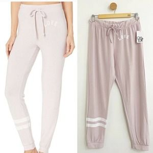 CHASER NWT Super Soft Pink 'Love' Jogger Pants
